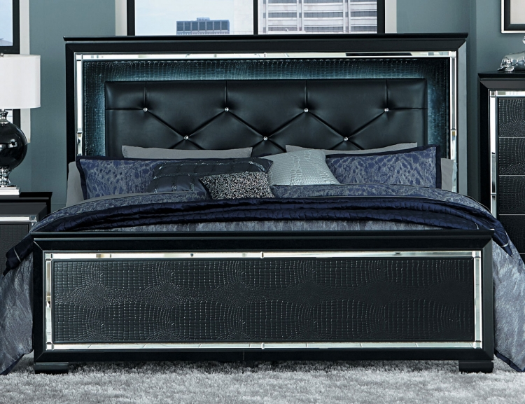 Allura Bed with LED Lighting - Black