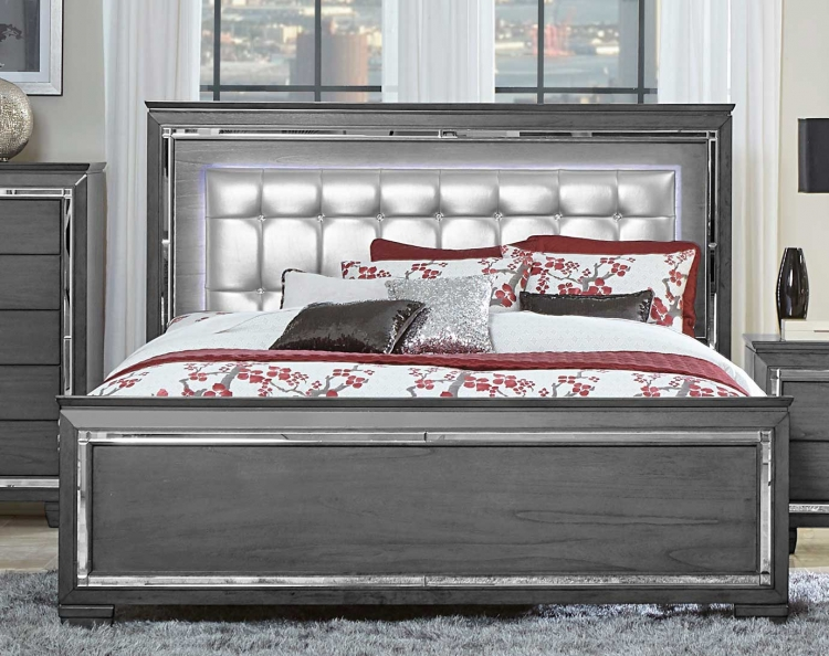Allura Bed with LED Lighting - Gray