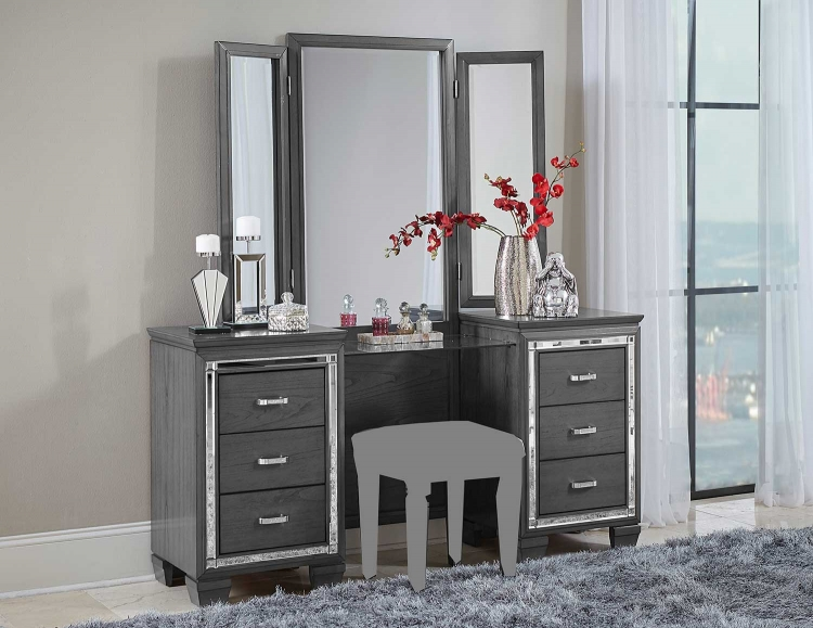 Allura Vanity with Mirror - Gray