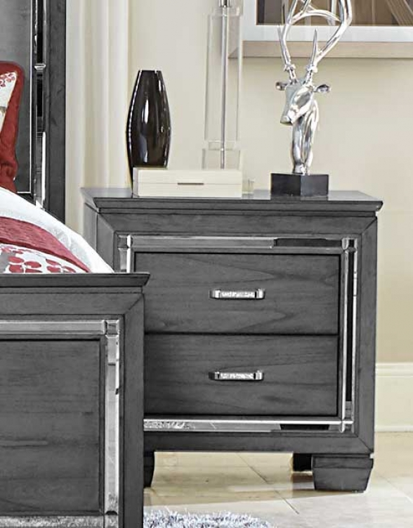 Allura Night Stand with LED Lighting - Gray