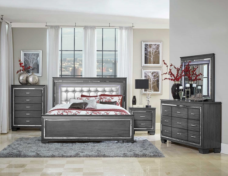 Allura Bedroom Set with LED Lighting - Gray