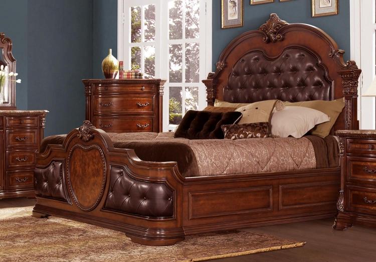 Antoinetta Upholstered Bed - Warm Cherry