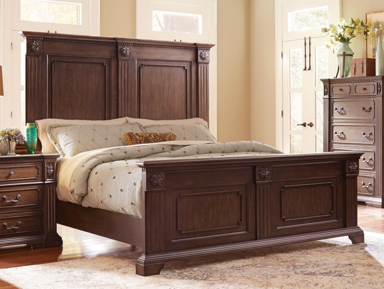 Dothan Park Panel Bed - Rich Brown Cherry