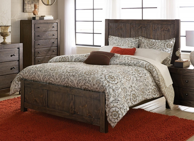 Farrin Panel Bed - Dark Rustic Pine