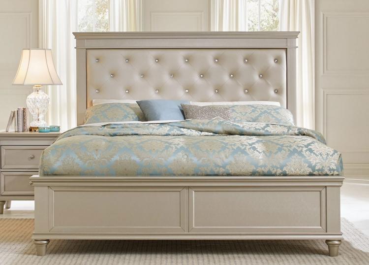 Celandine Upholstered Bed - Silver