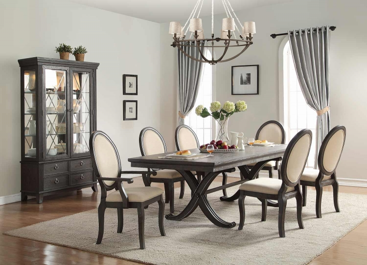 Lindley Dining Set - Walnut/Dusty Gray