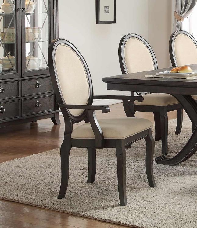 Lindley Arm Chair - Walnut/Dusty Gray