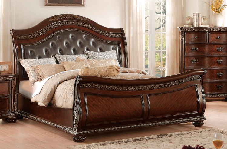 Chaumont Upholstered Sleigh Bed - Burnished Brown Cherry