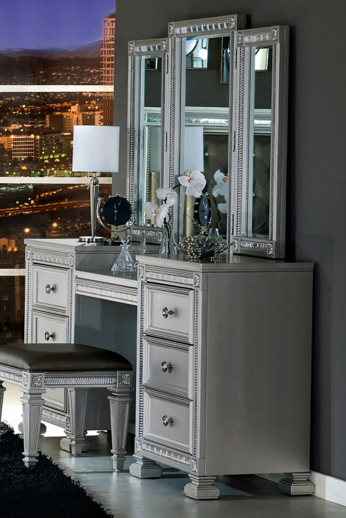 Bevelle Vanity Dresser with Mirror - Silver