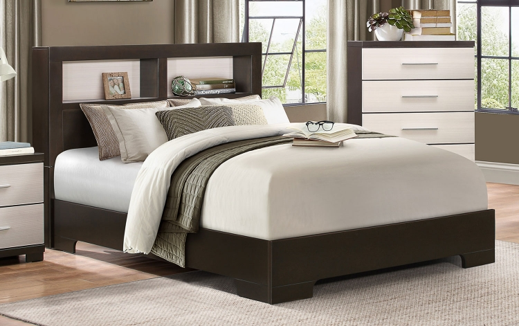 Pell Low Profile Storage Bookcase Bed - Two-tone Espresso/White