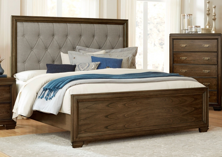 Leavitt Button Tufted Upholstered Bed - Brown Cherry
