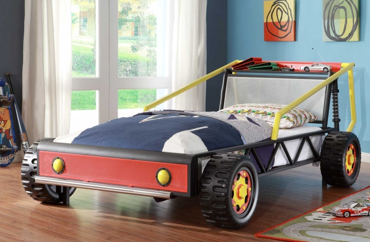 Track Red Twin Race Car Bed - Red - Homelegance