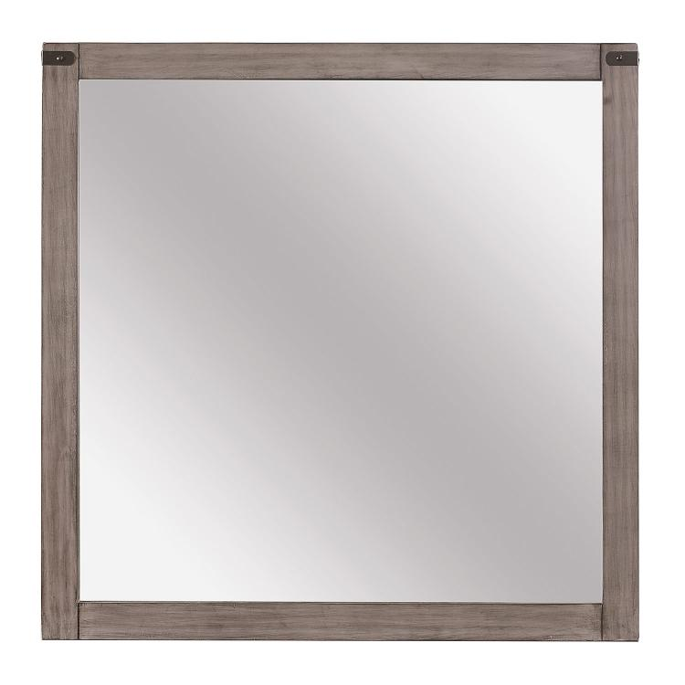 Homelegance Woodrow Mirror - Weathered - Black Bi-cast Vinyl