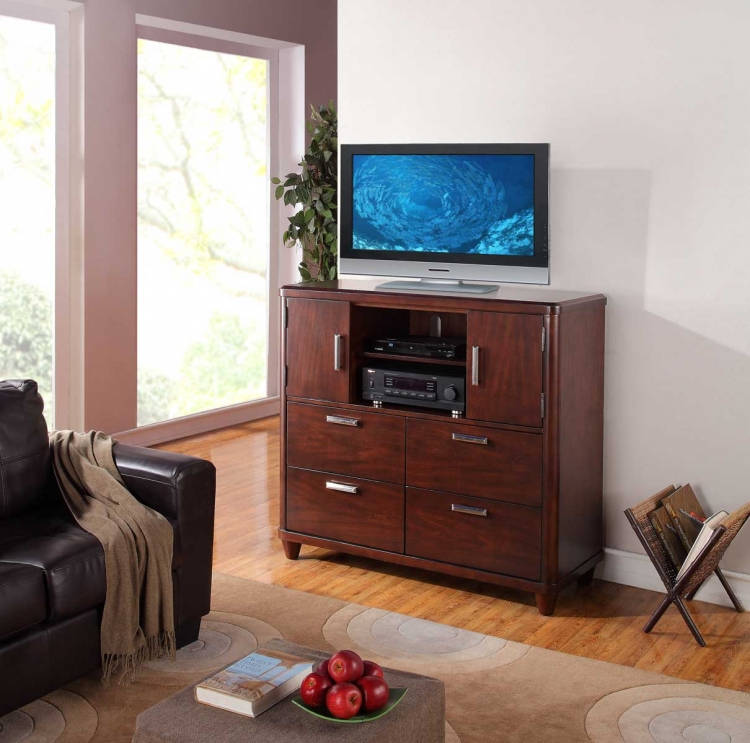 Beaumont TV Chest - Brown Cherry - Homelegance