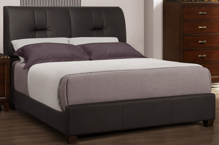 Bleeker Bed - Dark Brown Leatherette - Homelegance