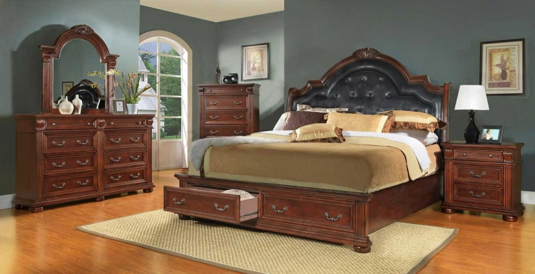 Silas Sleigh Bedroom Set - Homelegance