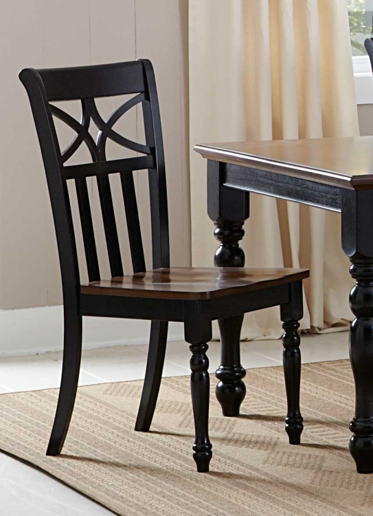 Sanibel Side Chair - Cherry/Black - Homelegance