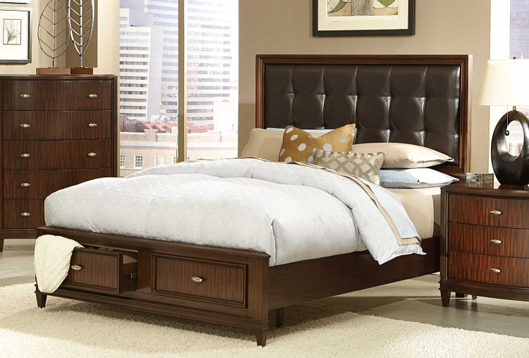 Abramo Platform Bed - Dark Brown