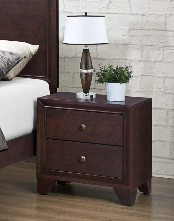 Kari Night Stand - Warm Brown Cherry - Homelegance