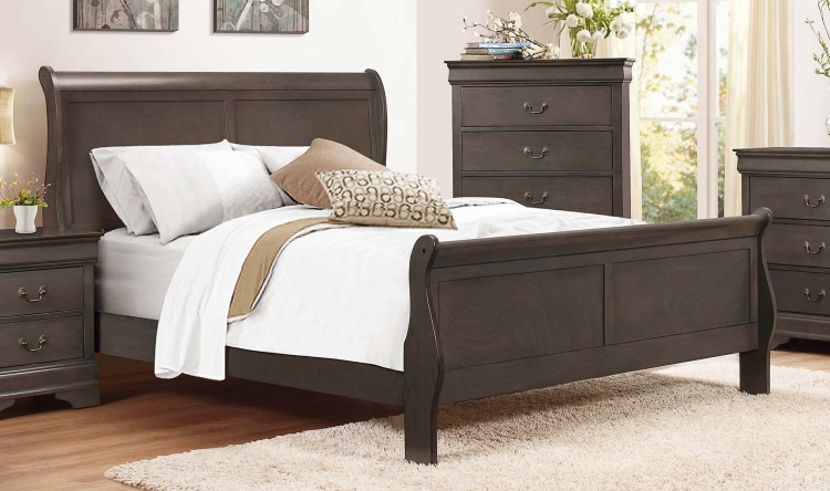 Mayville Sleigh Bed - Stained Grey