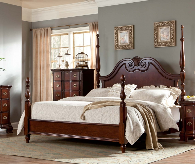 Guilford Poster Bed - Brown Cherry