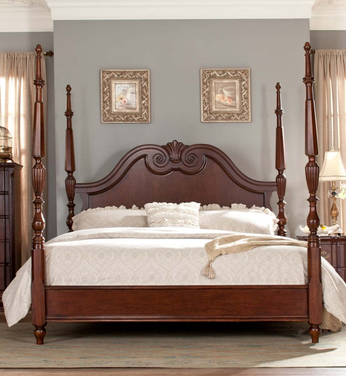 Guilford Tall Poster Bed - Brown Cherry - Homelegance