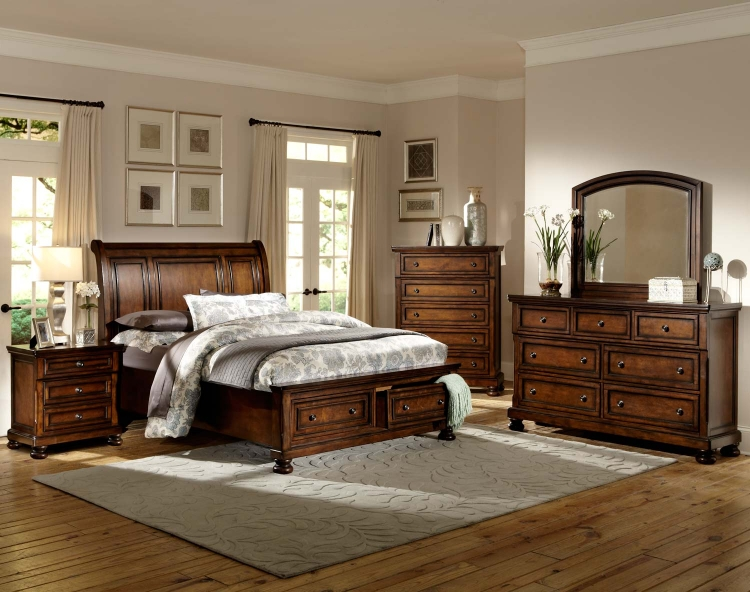 Cumberland� Platform Bedroom Set - Brown Cherry