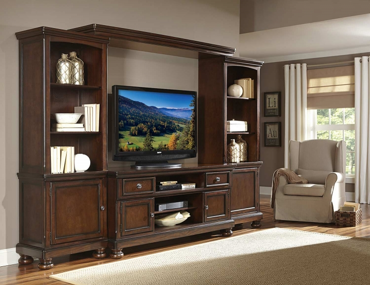 Cumberland Entertaiment Center Set - Rich Medium Brown