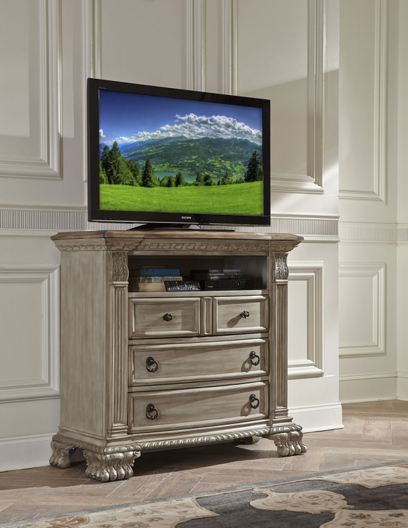 Orleans II TV Chest - White Wash