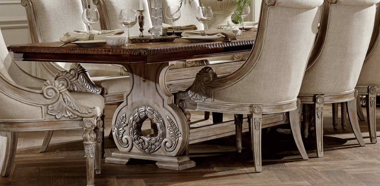 Orleans II Trestle Dining Table - White Wash/Weathered Brown