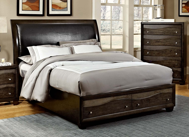 Redondo Platform Bed - Grey-toned Brown - Homelegance