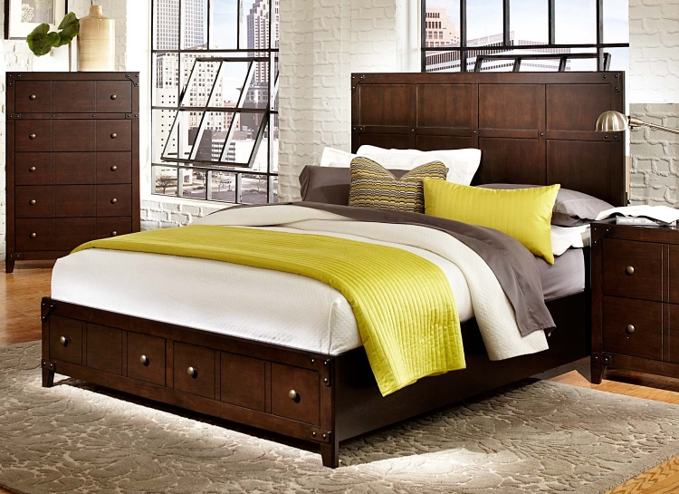 Brawley Platform Bed - Brown Cherry