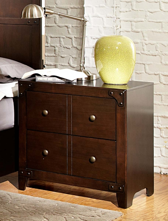 Brawley Night Stand - Brown Cherry