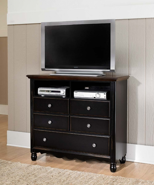 Loretta TV Chest - Black Sand through - Homelegance