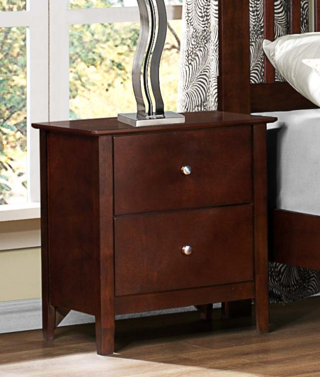 Nancy Night Stand - Merlot - Homelegance