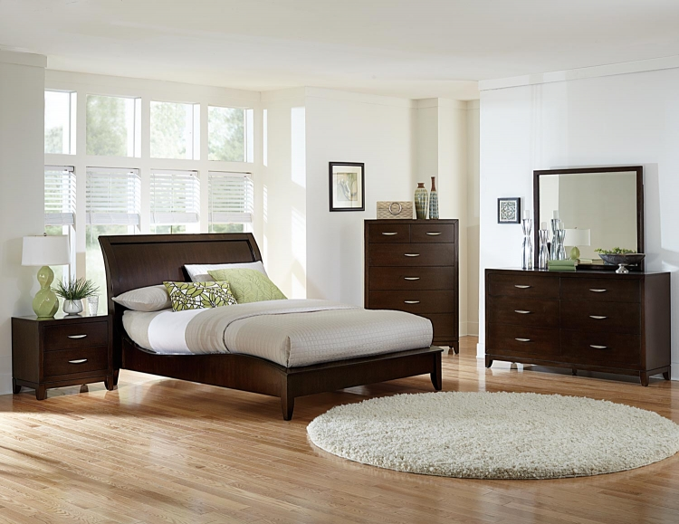 Starling Sleigh Bedroom Collection - Dark Cherry