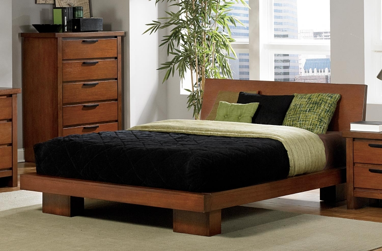 Kobe Platform Bed - Dark Oak