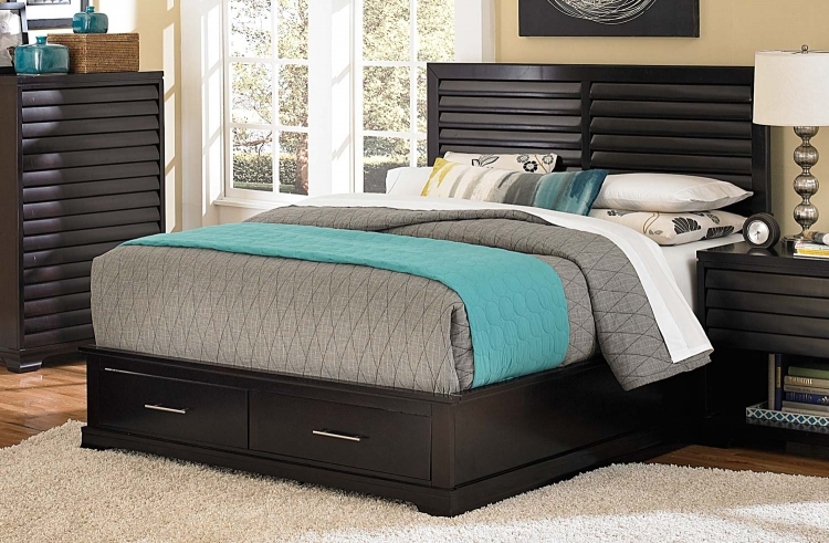 Curran Platform Storage Bed - Dark Cherry