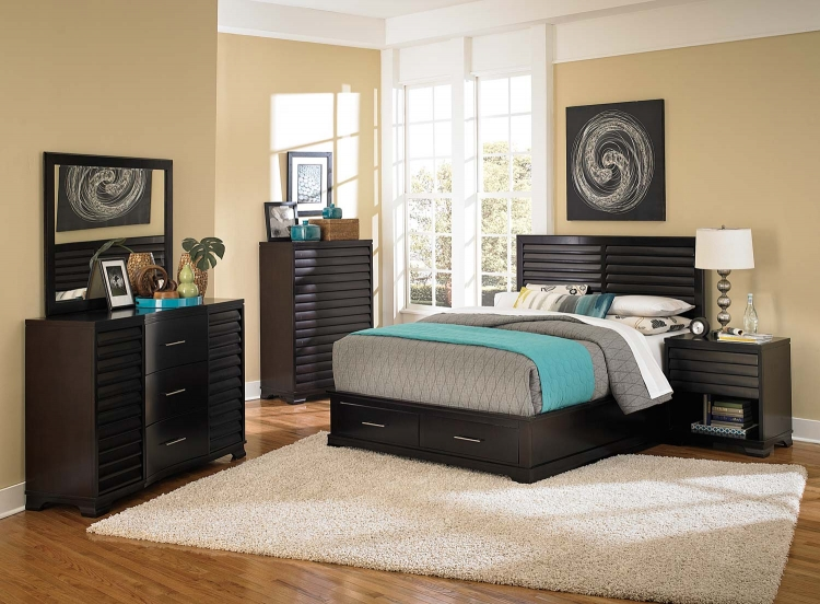 Curran Platform Storage Bed Collection - Dark Cherry