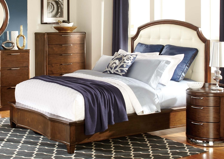 Zelda Upholstered Bed - Warm Cherry