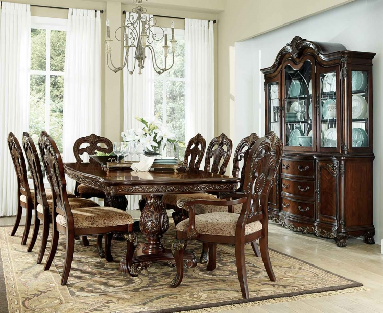 Deryn Park Double Pedestal Dining Set - Cherry