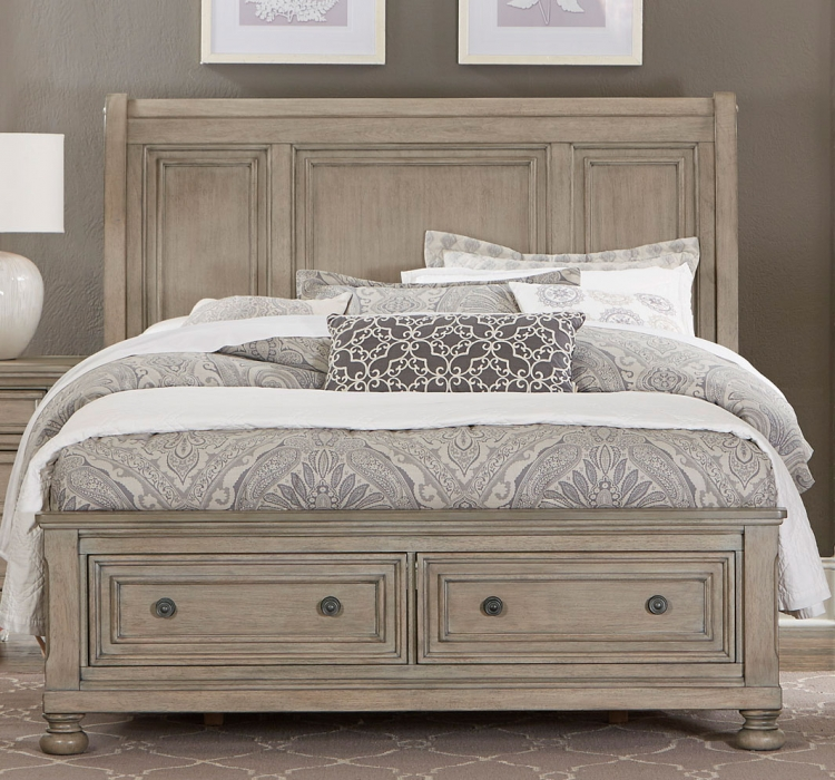 Bethel Sleigh Platform Storage Bed - Wire-brushed Gray