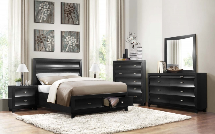 Zandra Platform Storage Bed Collection - Pearl Black