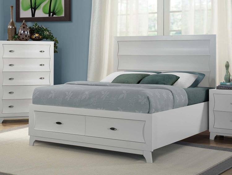 Zandra Platform Storage Bed - White