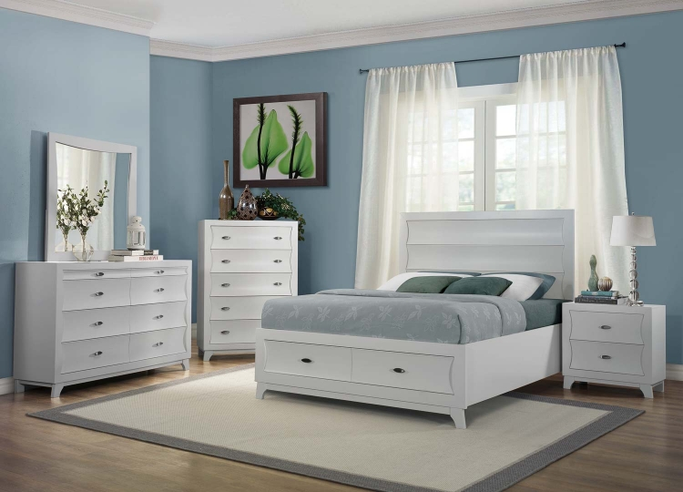 Zandra Platform Storage Bed Collection - White