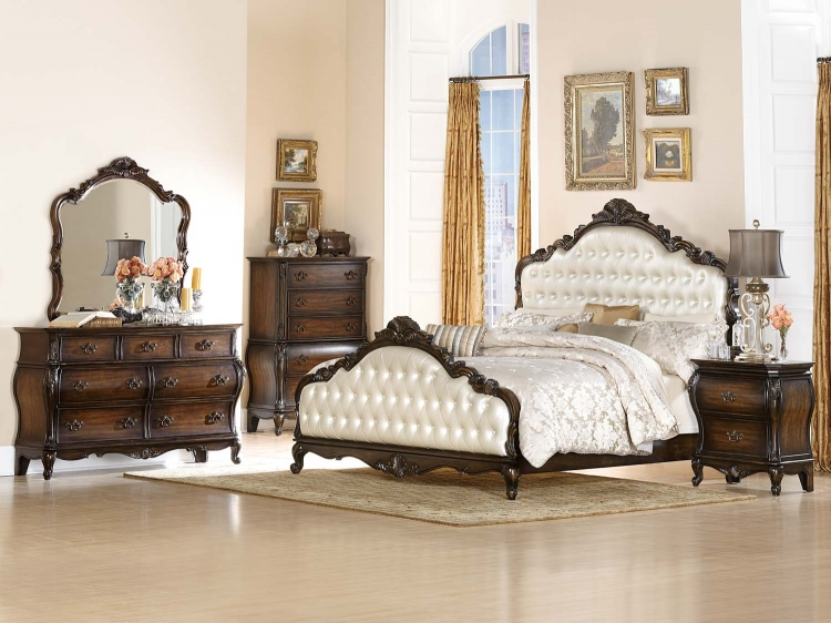 Bayard Park Upholstered Bedroom Set - Cherry