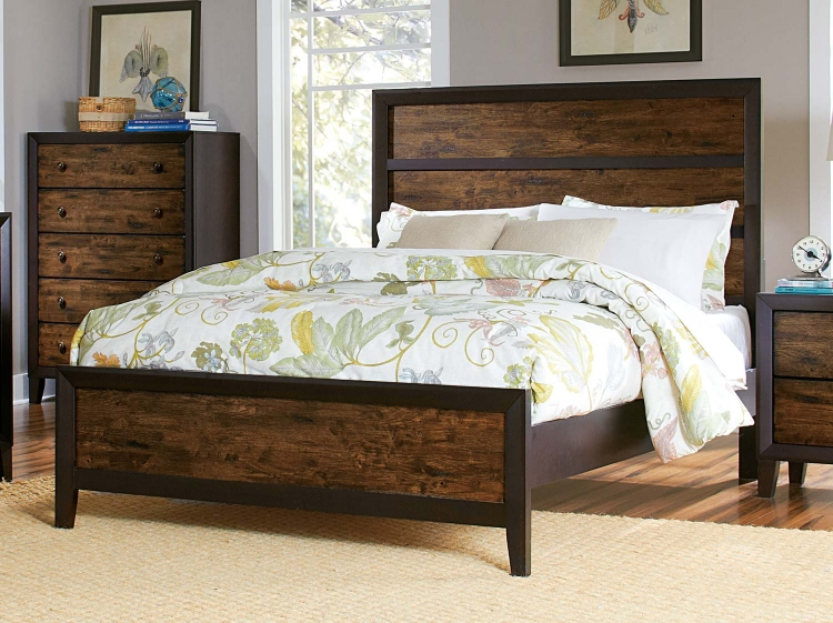 Arcola Bed - Espresso/Drifted Oak