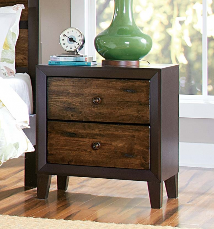 Arcola Night Stand - Espresso/Drifted Oak