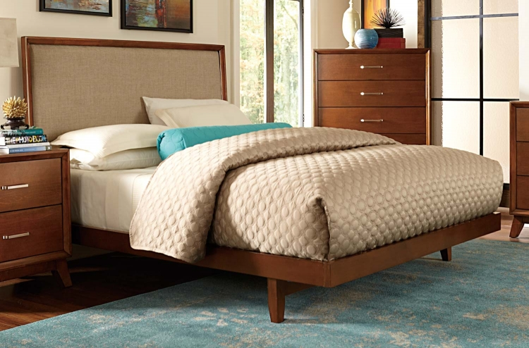 Soren Upholstered Bed - Light Cherry
