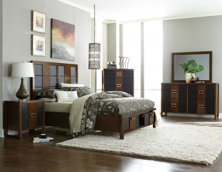 Zeigler Upholstered Platform Storage Bedroom Collection - Brown Cherry